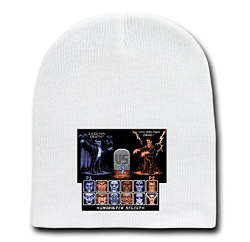 White Adult Beanie Skull Cap Hat - Universal Monster Fighter - Parody Design