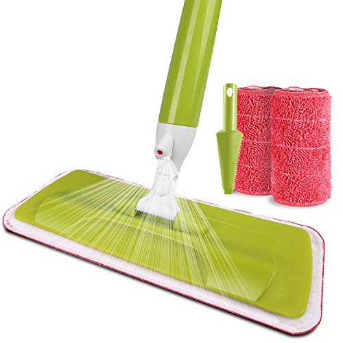 Aicehome Spray Mop with Refillable Bottle and 2 Reusable Microfiber Pads for Home and Office Floor