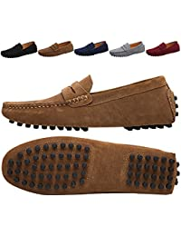 Mens Driving Penny Loafers Suede Moccasins Slip On Casual Dress Boat Shoes