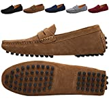 JIONS Men's Driving Penny Loafers Suede Driver Moccasins Slip On Flats Casual Dress Boat Shoes Khaki 12 D(M) US / EU 48