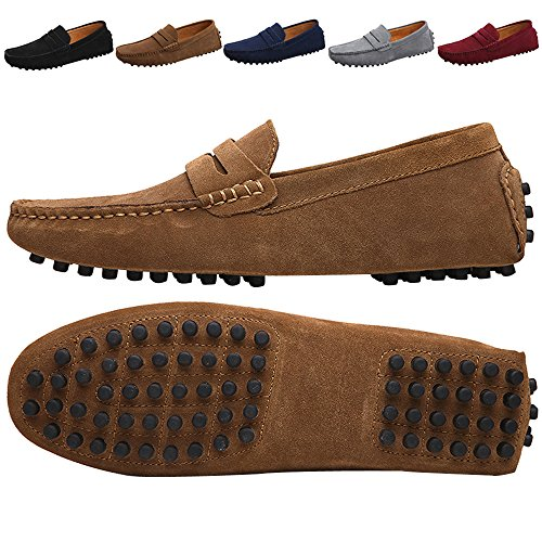 JIONS Men's Driving Penny Loafers Suede Driver Moccasins Slip On Flats Casual Dress Boat Shoes Khaki 12 D(M) US/EU 48 by JIONS