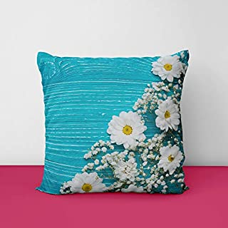 51E zvrKcPL. SS320 Chrysanthemum White Flowers Blue Square Design Printed Cushion Cover
