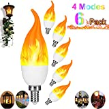 Artistic Home E12 LED Flame Effect Candelabra Light Bulbs - 2019 Halloween Upgraded 4 Modes - Flickering Candle Fire Bulbs for Halloween/Indoor/Outdoor/Hotel/Party/Bar/Store (6 Pack)