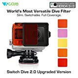 WoCase Switchable GoPro Lens Filter Set for GoPro HERO4 HERO 3+ Cameras (Compatible with Both Standard and Dive Housing - Full Dive Water Depth Coverage)