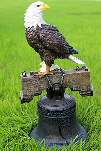 Atlantic Collectibles Independence Day American Patriotic Glory Bald Eagle Liberty Bell Home Patio Decor Figurine Great 4th of July Wings of Glory Pride Symbolic Statue ()