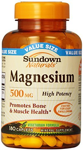 Sundown Naturals Magnesium 500 mg Caplets 180 CP - Buy Packs and SAVE (Pack of 4)