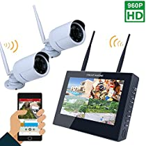 MOUNTAINONE 10 TFT 4CH 960P HD Wireless DVR Video Security System (NVR Kits)-2 PCS 1.3MP Wireless Weatherproof Bullet IP Cameras,Plug and Play,65ft Night Vision, No Hard Drive