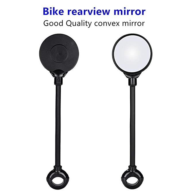 JCstarrie Bike Ebike Motobike mirror-360/° Rotation Mountain Road Bike Bicycle Cycling MTB Back Rear View Mirror Handlebar Wide Angle Rearview Adjustable Universal Safety Bike Mirror Black Silver