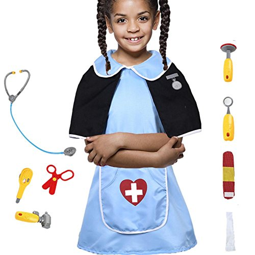 per Child's Occupation Costume Set Dress up Pretend Role Play Kit with Accessories for 3-6 Years Old Toddlers-Nurse