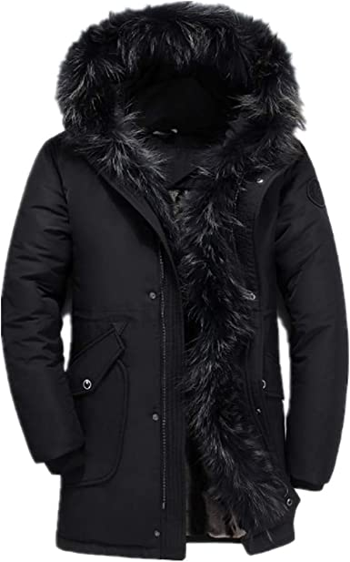 Domple Mens Warm Thicken Hooded Faux Fur Collar Fleece Lined Casual Outwear Parka