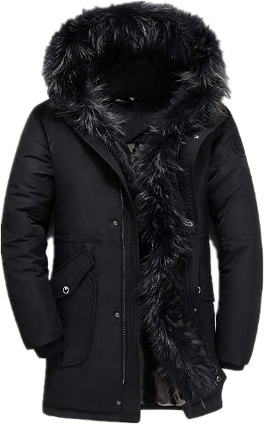 Fllay Men Casual Fleece Lined Winter Faux Fur Collar Hooded Warm Outwear Jacket