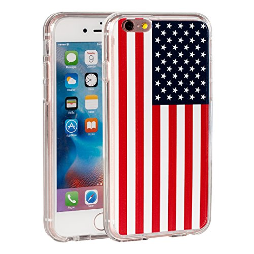 iPhone 6 Case,iPhone 6s Case,AIRWEE USA American Flag Pattern Slim Clear Acrylic PC Hard Back Cover with Soft Rubber TPU Bumper Hybrid Protective Case for Apple iPhone 6/6s 4.7inch