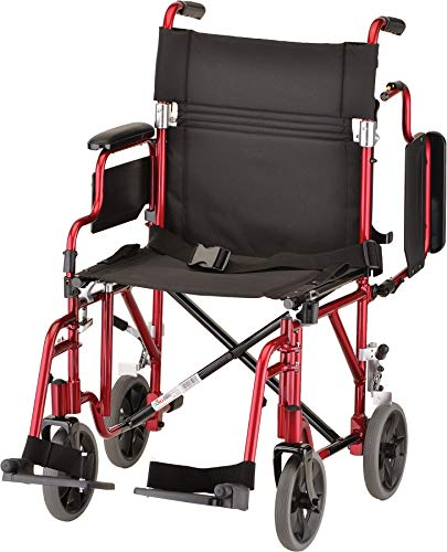 NOVA Lightweight Transport Chair with Removable & Flip Up Arms for Easy Transfer, Red