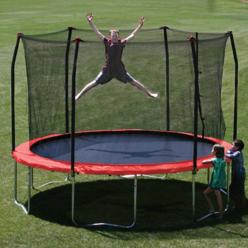 Skywalker 12-Feet Round Trampoline with Enclosure, Red by Skywalker Trampolines (Image #1)