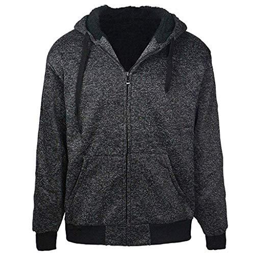 (Clearance On Sale Litetao Plus Size S-5XL Fleece Hoodie for Men Sherpa Lined Full Zip Long Sleeve Jacket Coat (L,)