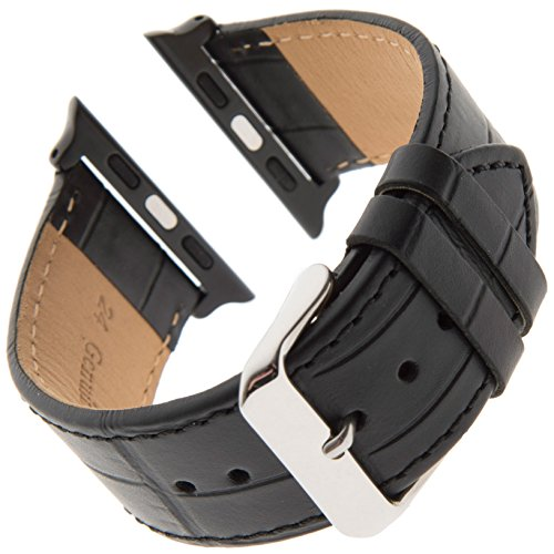 (Gilden for Apple 42mm/44mm Gator-Grain Calfskin Black Watch Strap F30-0124-SMART (Fits 42 and 44 Millimeter Apple Watch,)