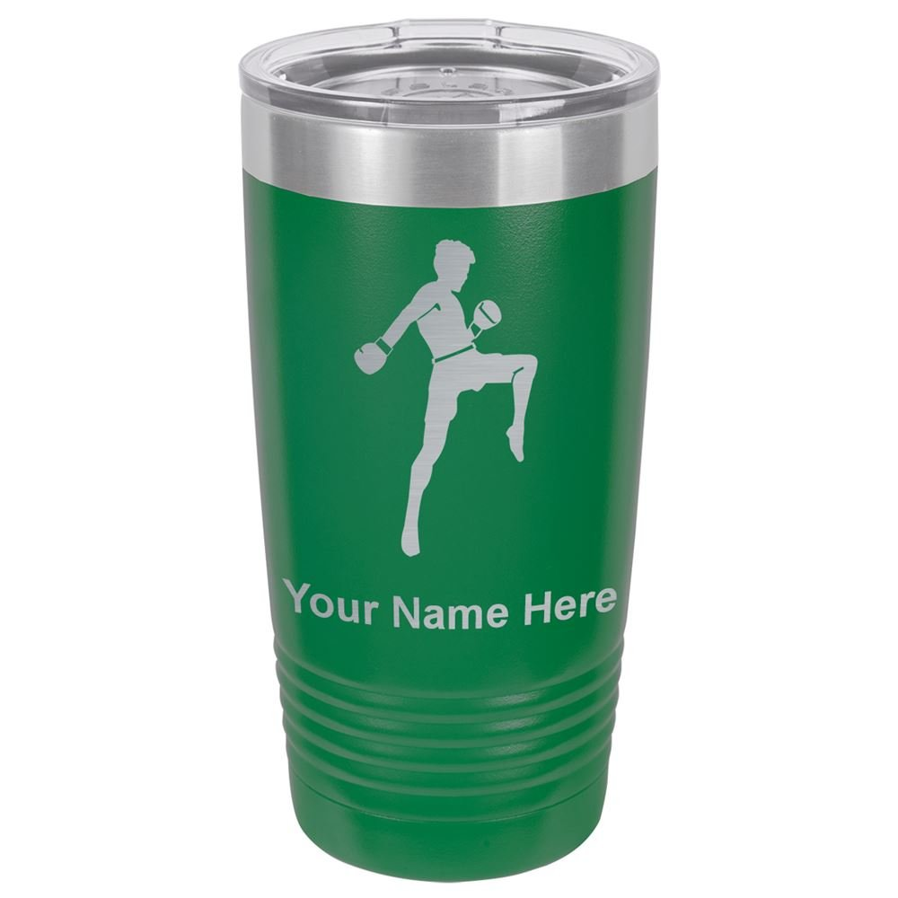 20oz Tumbler Mug, Muay Thai Fighter, Personalized Engraving Included (Green)