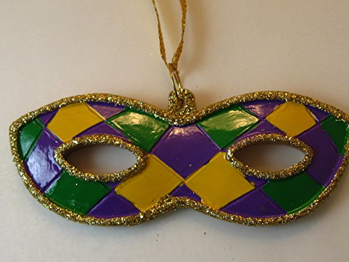 Mardi Gras Mask Holiday Ornament Christmas with Free Gold Drawstring Pouch / Bag