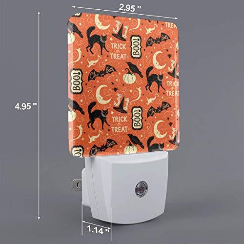 Xiaoyedenggg Vintage Halloween Trick Or Treat Boo Plug-in Night Light, Warm White LED Nightlight,Dusk-to-Dawn Sensor,Bedroom,Bathroom,Kitchen,Hallway,Stairs,Energy Efficient,Compact -