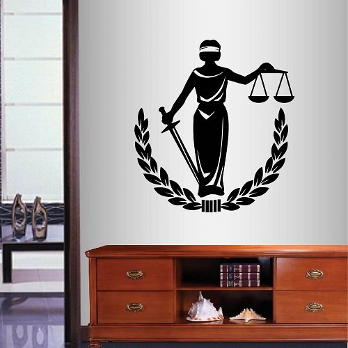Cheap  Wall Vinyl Decal Home Decor Art Sticker Lady Justice Symbol Law Woman..