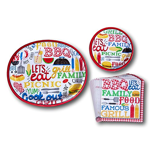Backyard BBQ Picnic Summer Paper Plates and Napkins Party Supply Bundle - Picnic Tableware Set Includes - BBQ Dinner Plates - Dessert Plates and Napkins