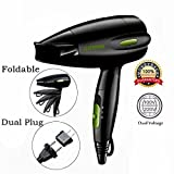 quiet folding hair dryer - Professional Folding Blow Dryer for Travel 1300 to 1500W Negative Ion Hair Dryer Dual Voltage Lightweight,Mini 9x10 Inch Size, Mothers Day Gifts for Women,Green (Green)