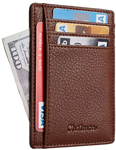 Chelmon Slim Wallet RFID Front Pocket Wallet Minimalist Secure Thin Credit Card Holder (Pebble Brown)
