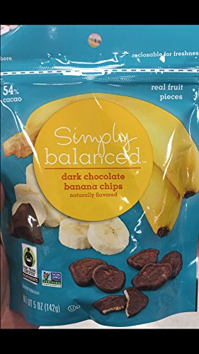 - Simply Balanced Dark Chocolate Banana Chips Naturally Flavored Real Fruit Pieces 54% cacao