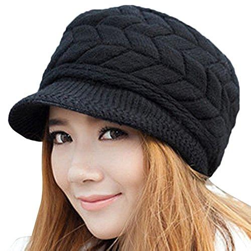 EachWell Women Winter Visor Hat Warm Knit Hat Cap Anti Wind (Gray Winter Knit Hat)