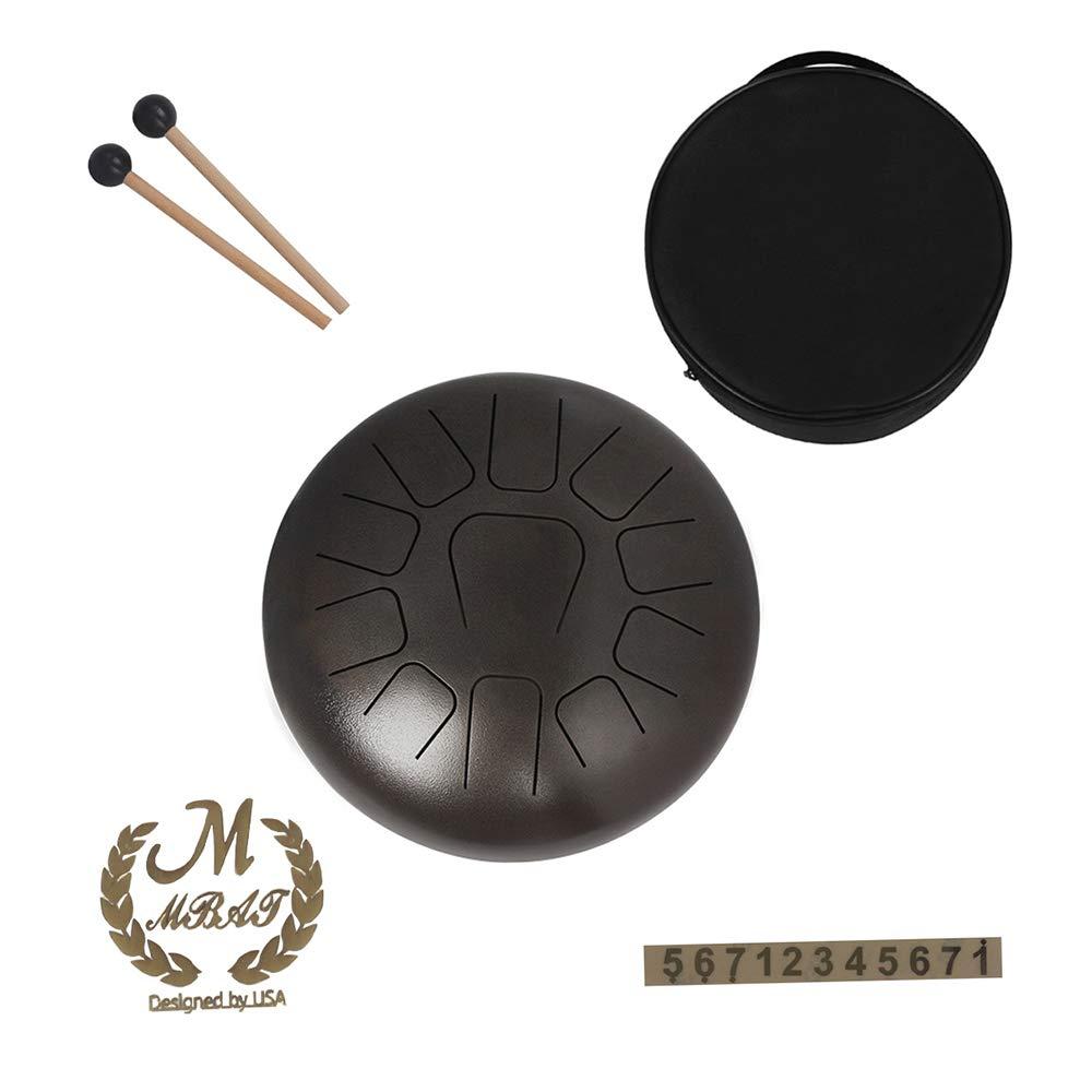 Muslady Tambor de Mano 11 tonos 12 pulgadas Tambor de Lengua de Acero Instrumento de Percusi/ón con Mazos de Tambor Llevar Bolsas Nota Sticks caf/é