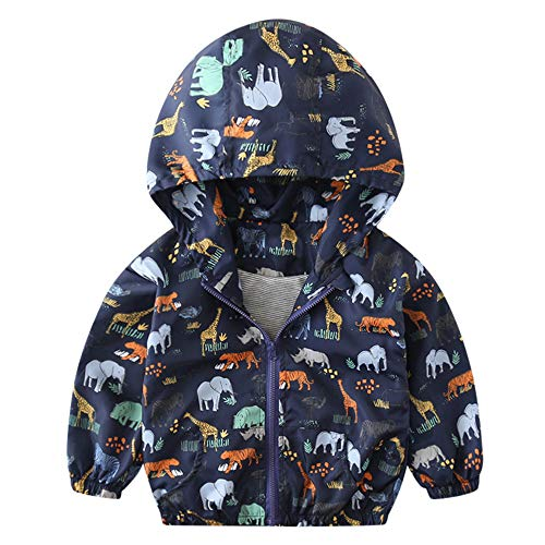 Tronet Children Coat, Kids Girls Boys Baby Autumn Jacket Dinosaur Hoodie Windbreaker Outerwear (Navy, 120(Age:4-5Years)) ()