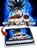 Dragon Ball Super Goku Ultra Instinct Personalized Cake Toppers Icing Sugar Paper A4 Sheet Edible Frosting Photo Birthday Cake Topper 1/4 ~ Best Quality Edible Cake Image!