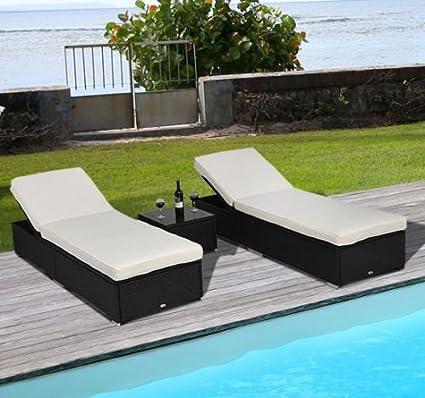 Amazon.com: 3 piezas Juego de mimbre Chaise Lounge Chair de ...