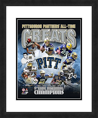 "NCAA Pittsburgh Panthers 'All Time Greats', Beautifully Framed and Double Matted, 18"" x 22"" Sports Photograph"