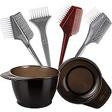 Hair Color Brush and Bowl Set, YGDZ Hair Dye Brush and Bowl Set, 4pcs Dye Applicator Brush & Comb, 2pcs Color Mixing Bowls, Professional Salon Tint Tools