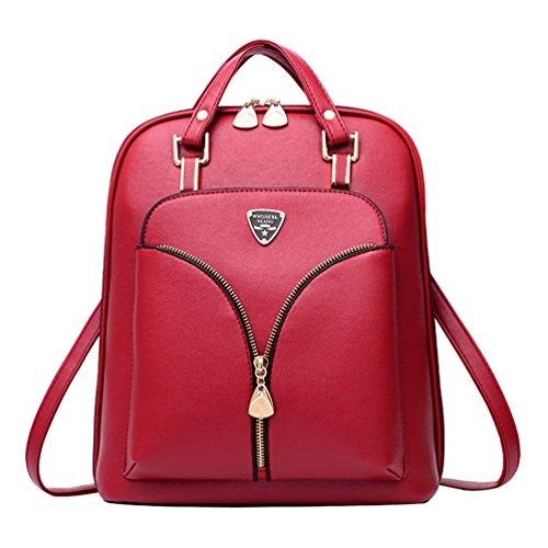 Vin Cuir Cartable Daypacks Sac Femme En Filles Dos éclair Casual Jeunes Fermeture College rouge Cuir PU YAANCUN Vintage aqfAA