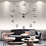 Elikeable Modern 3D Frameless Large Wall Clock Style Watches Hours DIY Room Home Decorations (Silver3)