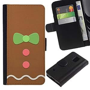 Planetar® Modelo colorido cuero carpeta tirón caso cubierta piel Holster Funda protección Para SAMSUNG Galaxy S5 V / i9600 / SM-G900 ( Hombre Bowtie rosa verde de Navidad)