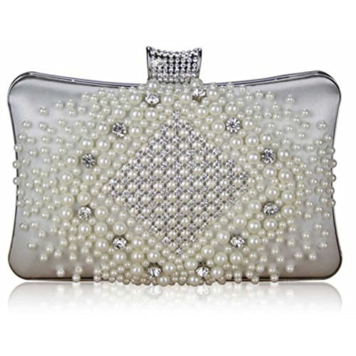 TrendStar Bolso de mano para mujeres: de boda, cristal, perlado, para fiesta - marfil