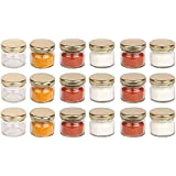 Pure Source India Very Small Glass Jar Set Of 18 Pcs Coming With Metal Golden Color Air Tight And Rust Proof Cap , Capacity 20 Gram