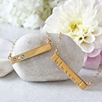Gold Bar Necklace with Birthstones, Birthstone Bar Necklace, Mother's Necklace with Birthstones, Family Necklace in Gold