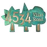 Trio of Trees Address Plaque 13.5x9 - Raised Bronze Verdi Coated