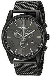 Akribos XXIV Men's AK813BK  Round Black Radiant Sunburst Dial Chronograph Quartz Bracelet Watch