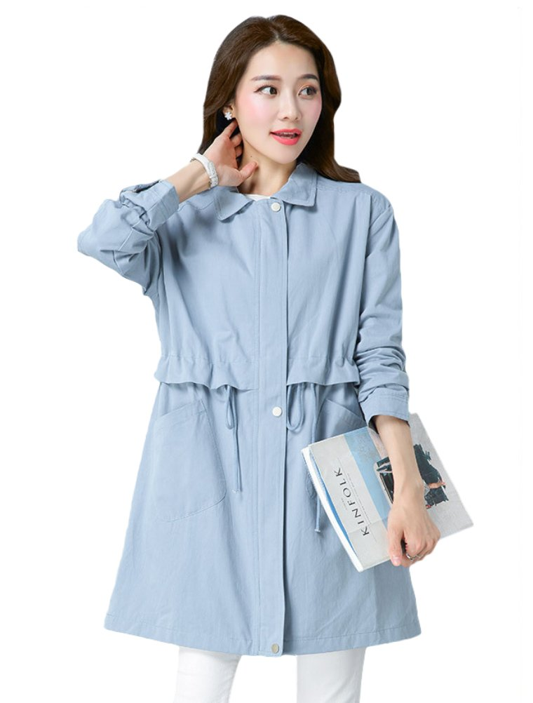 Mordenmiss Women's Spring/Fall Drawstring Cotton Trenchcoat with Pockets L Blue