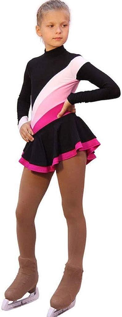 フィギュアスケートドレス、女性の女の子の黒のスパンデックス伸縮性のある専門の競争のスケートの摩耗のスパンコールの長い袖のフィギュアスケート ブラック Child8