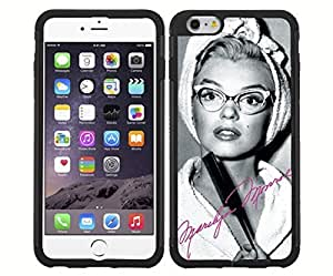 Pretty Black, White and Hot Pink Marilyn Monroe in Cat Rimmed Glasses RUBBER Snap on Phone Case (iPhone 4 4s)