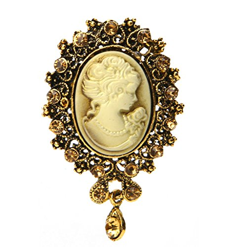Pink-day Vintage Cameo Victorian Crystal Wedding Party Women Pendant Brooch Pin Jewelry (Gold)