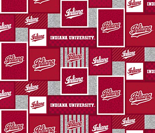 Indiana University Fleece Blanket Fabric-Indiana Hoosiers Fleece Fabric with New Patch Pattern-Sold by The Yard