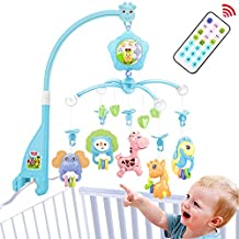 Baby mobile for crib, Baby plush Crib mobile With lights,Music, remote,Arm, Projector and toy for pack and play (Blue)