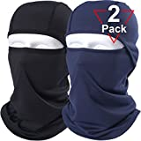AXBXCX 2 Pack Balaclava - Breathable Face Mask Windproof Dust Sun UV Protection Motorcycle Cycling Motocross Riding Hunting Hiking Fishing Ski Snowboard Tactical Paintball Airsoft Black Blue
